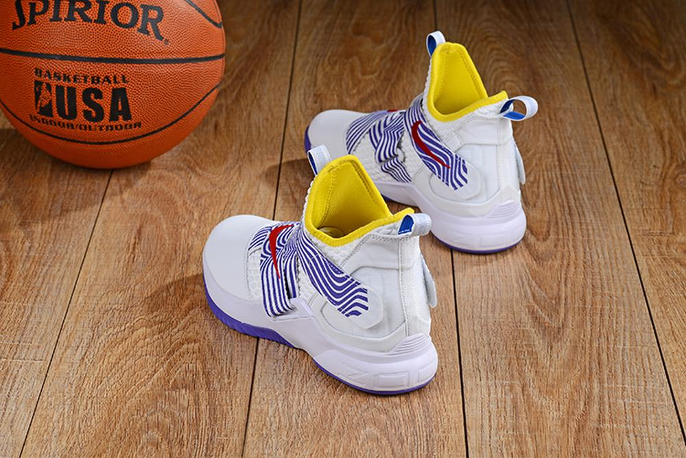 Nike Lebron James Soldier 12 Shoes White Blue Yellow